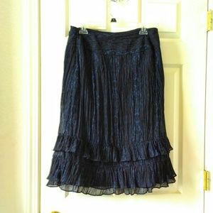 ANN TAYLOR LOFT Ruffled Skirt Blue Black Size 8